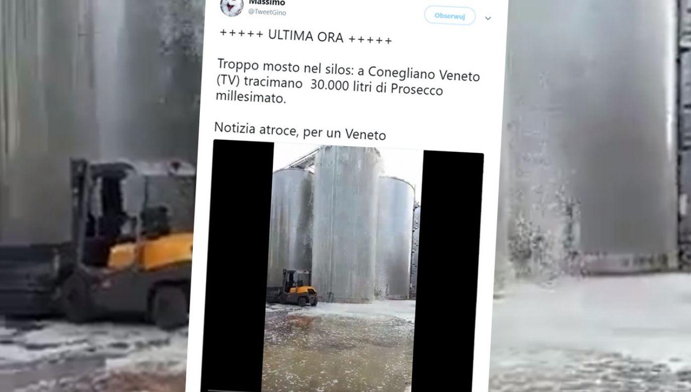 Wylało się 30 tys. litrów musującego trunku (fot. tt/@TweetGino)