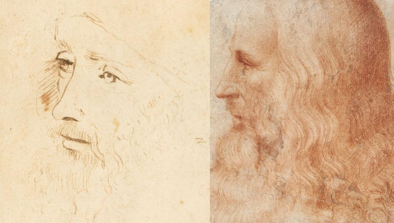 Fragmenty rysunków z Kolekcji Królewskiej: szkic zidentyfikowany ostatnio jako portret Leonarda, wykonany za jego życia przez asystenta (L) oraz jedyny znany dotąd wizerunek mistrza, niebędący autoportretem i wykonany za jego życia; jego autorem jest uczeń Vinciego – Francesco Melzi (fot. PAP/EPA/ROYAL COLLECTION TRUST / © Her Majesty Queen Elizabeth II)
