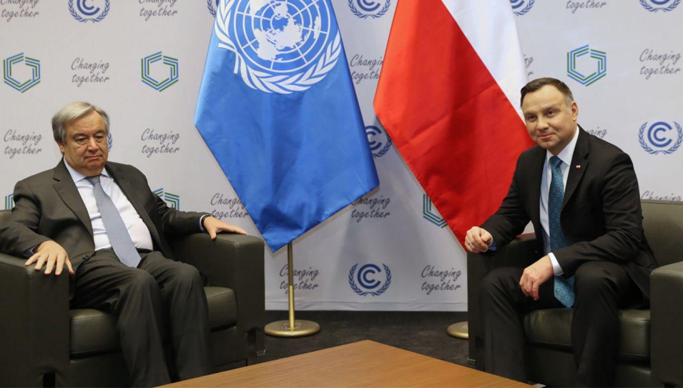 Prezydent Andrzej Duda oraz sekretarz generalny ONZ Antonio Guterres podczas spotkania w Katowicach (fot. PAP Grygiel)