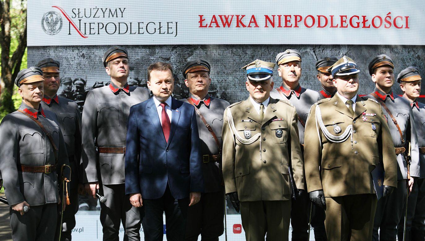 Minister obrony narodowej Mariusz Błaszczak podczas prezentacji nowego programu upamiętniającego 100. rocznicę odzyskania przez Polskę niepodległości (fot. PAP/Leszek Szymański)