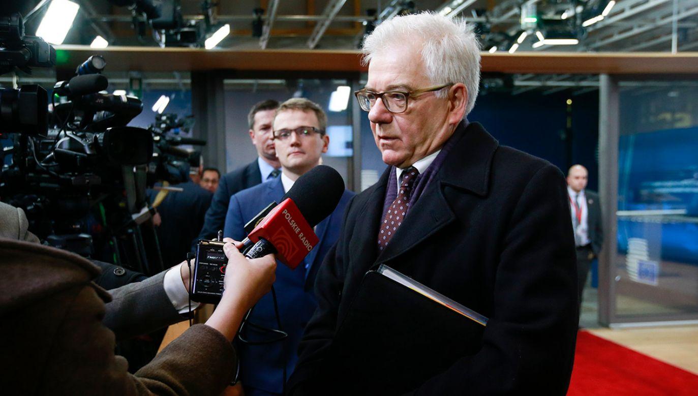 Minister spraw zagranicznych Jacek Czaputowicz w Brukseli. (fot. PAP/EPA/OLIVIER HOSLET)