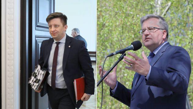 Szef kancelarii prezesa rady ministrów Michał Dworczyk, były prezydent Bronisław Komorowski  (fot. PAP/Paweł Supernak /Tomasz Gzell)