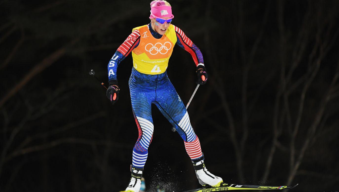 Kikkan Randall podczas rywalizacji olimpijskiej w Pjongczangu (fot. Getty Images)