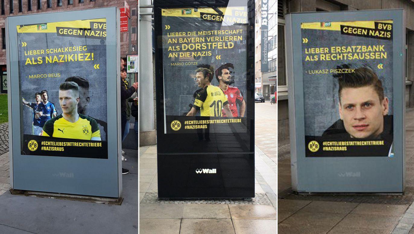 W Dortmundzie rozwieszono nieautoryzowane plakaty z wizerunkami piłkarzy Borusii, herbem klubu i logiem resortu spraw rodzinnych (fot. TT/alexey83_bvb)