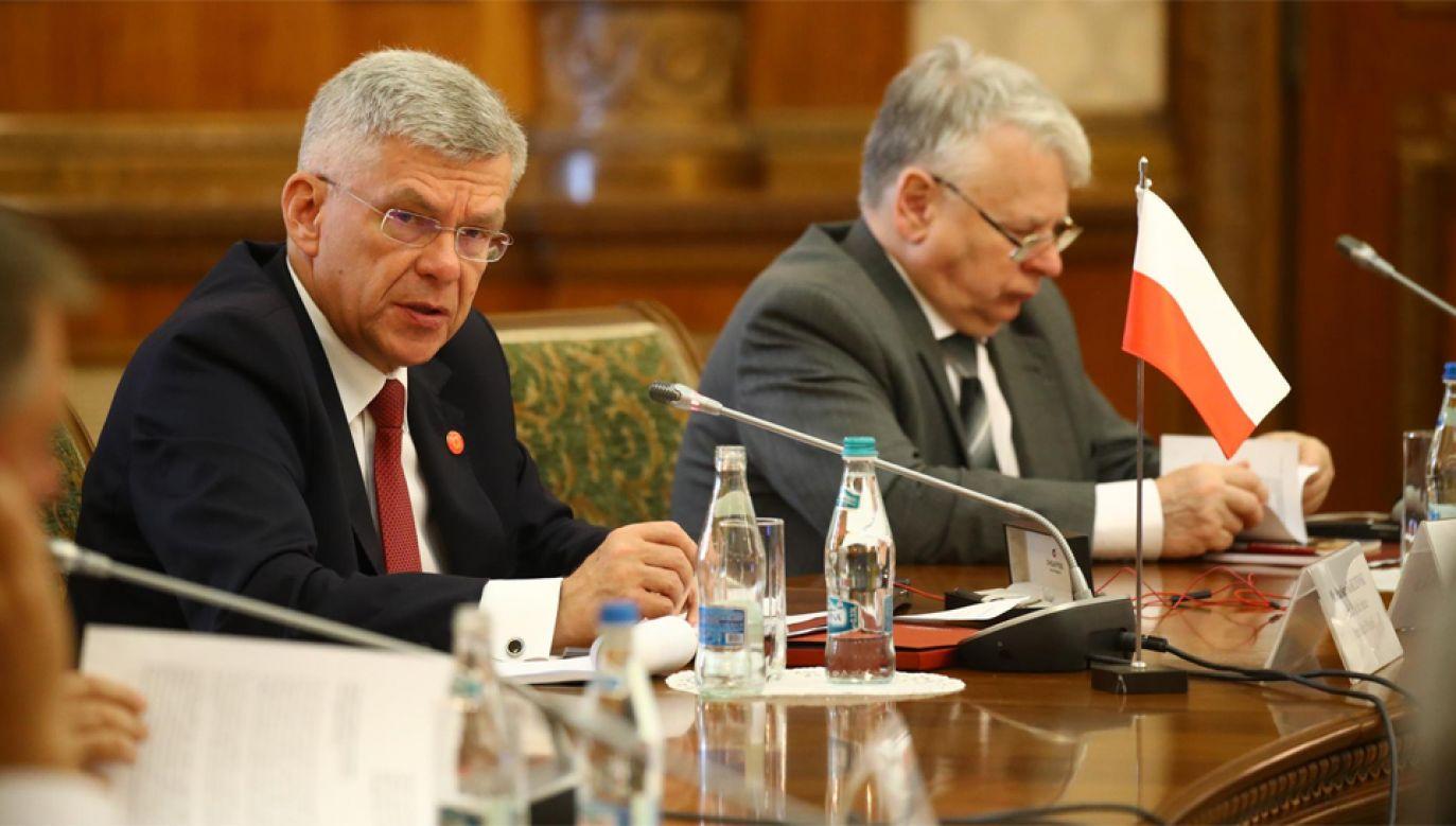 Marszałek Senatu Stanisław Karczewski (L) poinformował, że kolejny szczyt B9 odbędzie się w Warszawie (fot. Twitter/Senat)
