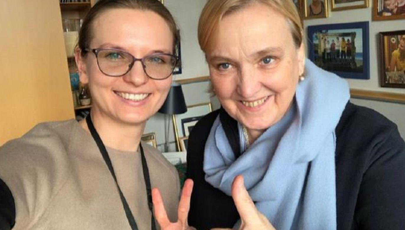 Szefowa Fundacji Otwarty Dialog Ludmiła Kozłowska z posłanką do PE Różą Thun (fot. twitter)
