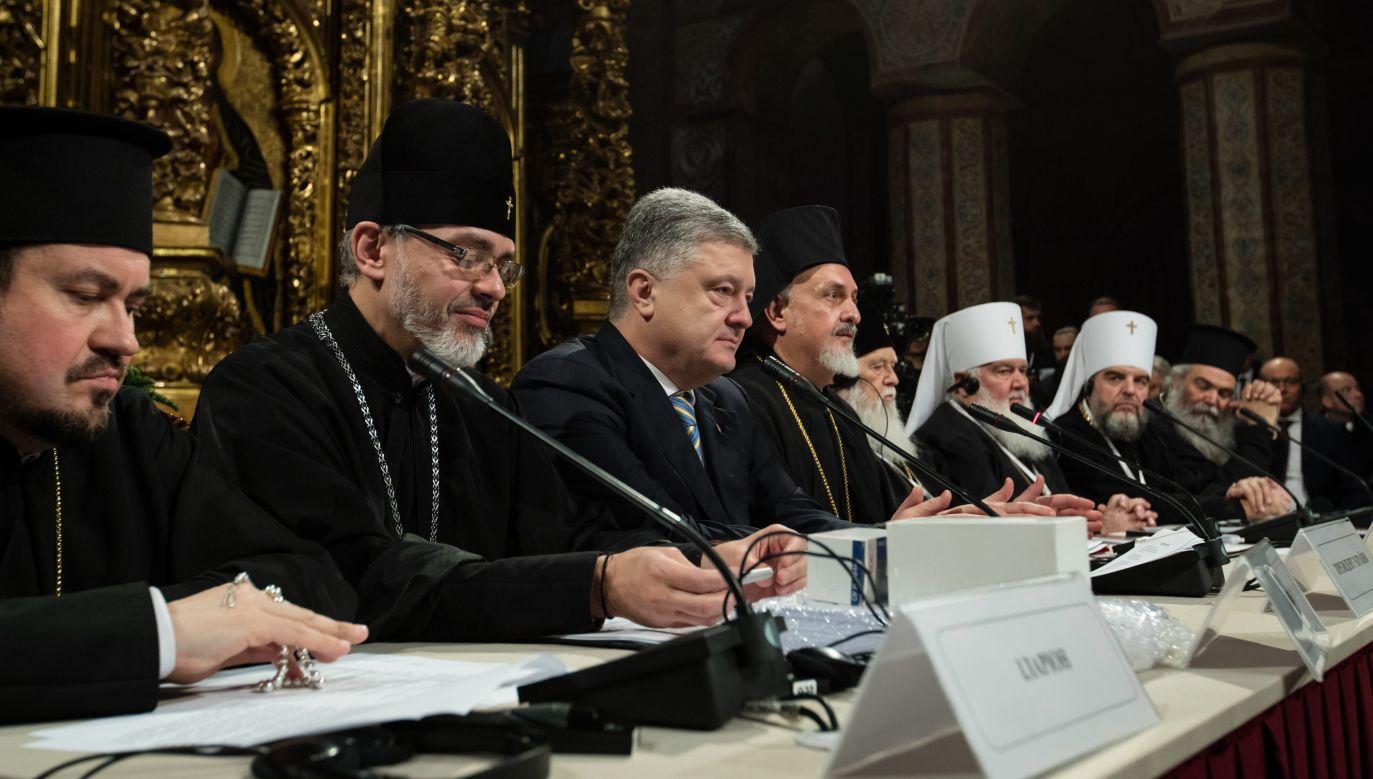 Decyzję o wyborze biskupa Epifaniusza podjął w sobotę wieczorem obradujący w Kijowie Sobór zjednoczeniowy ukraińskiego prawosławia (fot. PAP/EPA/MIKHAIL PALINCHAK)