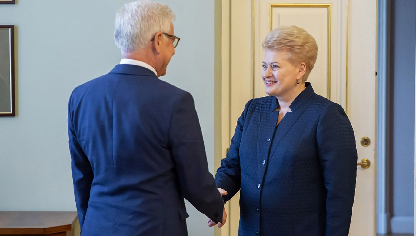Minister spraw zagranicznych Jacek Czaputowicz (L) i prezydent Litwy Dalia Grybauskaite (P) podczas spotkania w Wilnie (fot. arch.PAP/Piotr Nowak)