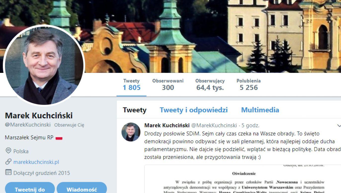 Tweet marszałka Sejmu Marka Kuchcińskiego (fot. Twiitter)