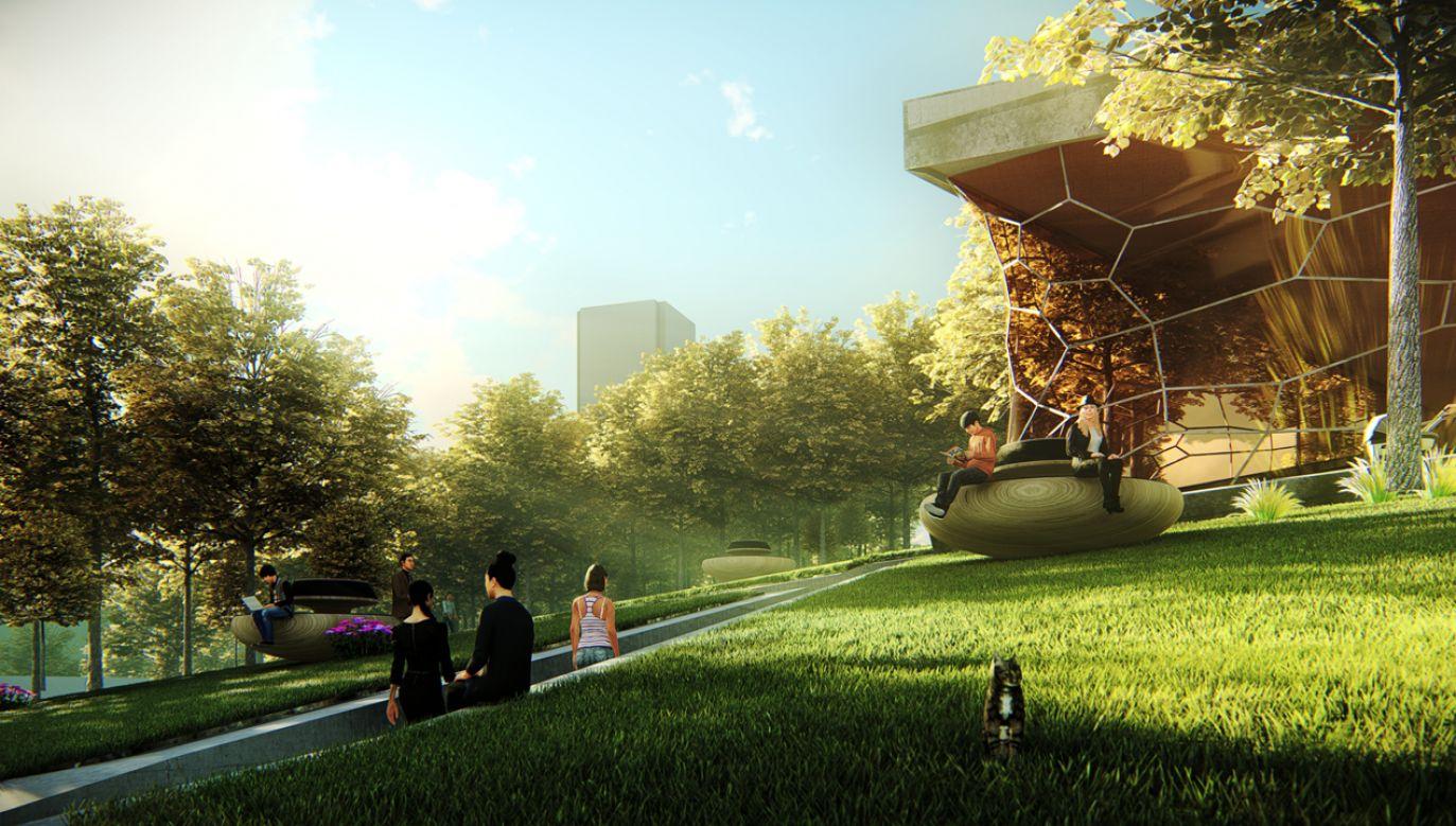 Patryk Jaki zaprezentował wizualizację nowej koncepcji zagospodarowania Placu Defilad (fot. Materiały prasowe)
