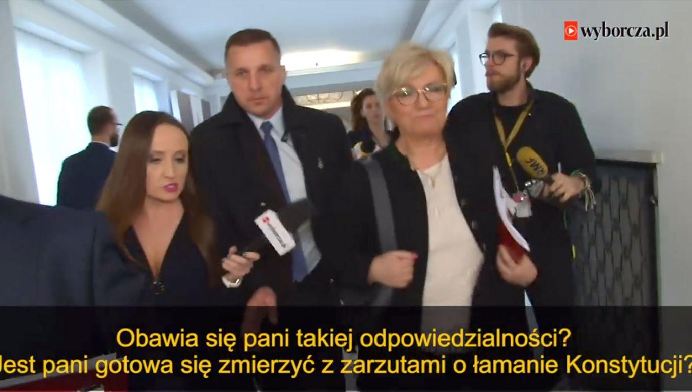 Ton, w jakim Dobrosz-Oracz zadawała pytanie prezes Trybunału Konstytucyjnego, można uznać za konfrontacyjny (fot. FB/Wideo Wyborcza.pl)