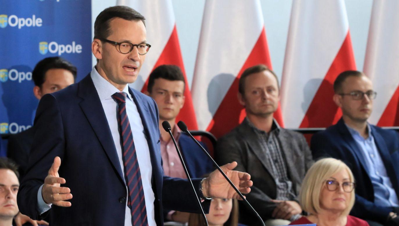 Polish PM mateusz Morawiecki addresses his voters in Olsztyn, June 22, 2018. Photo: PAP/PAP/Krzysztof Świderski