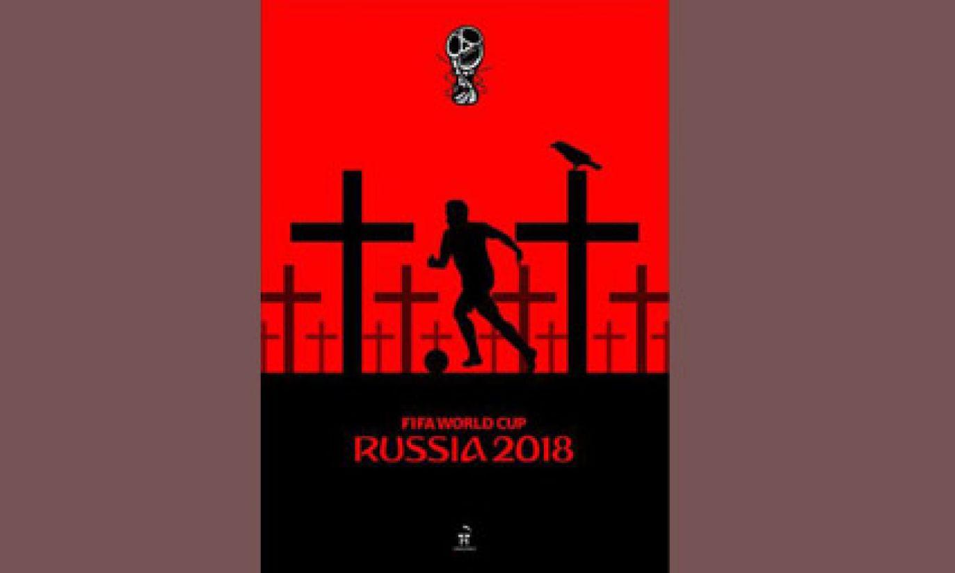 Sytuację ogarniętej wojną Ukrainy odzwierciedlają plakaty Andrija Jermolenki (fot. zbiory Moniki Andruszewskiej)