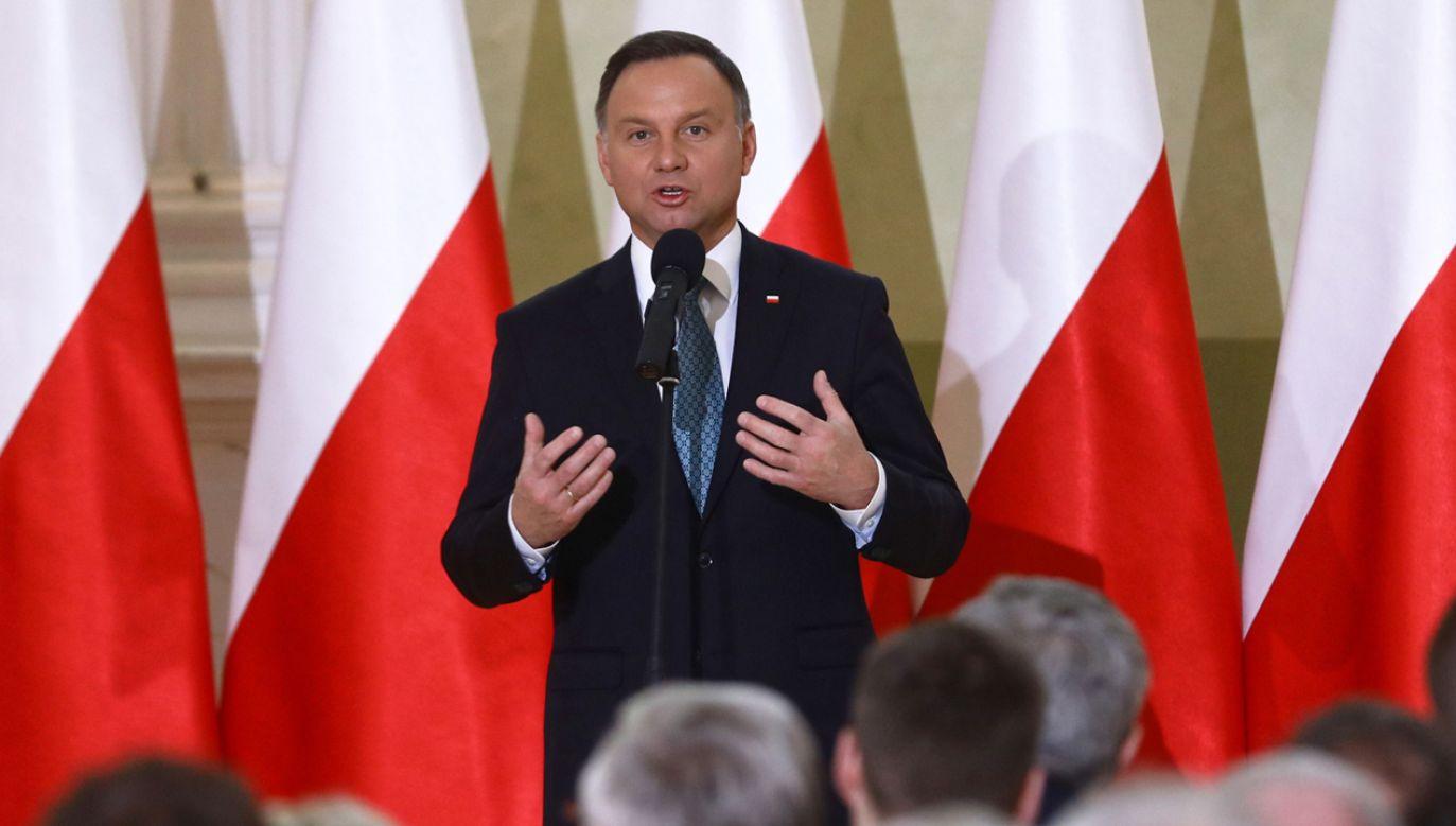 Prezydent Andrzej Duda podczas spotkania inaugurującego Porozumienie Rolnicze (fot. PAP/Rafał Guz)