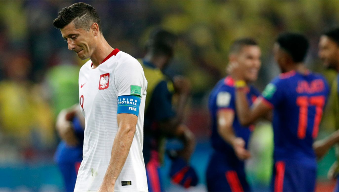 Robert Lewandowski pozostaje bez gola na mundialu w Rosji (fot. PAP/EPA/ROBERT GHEMENT)