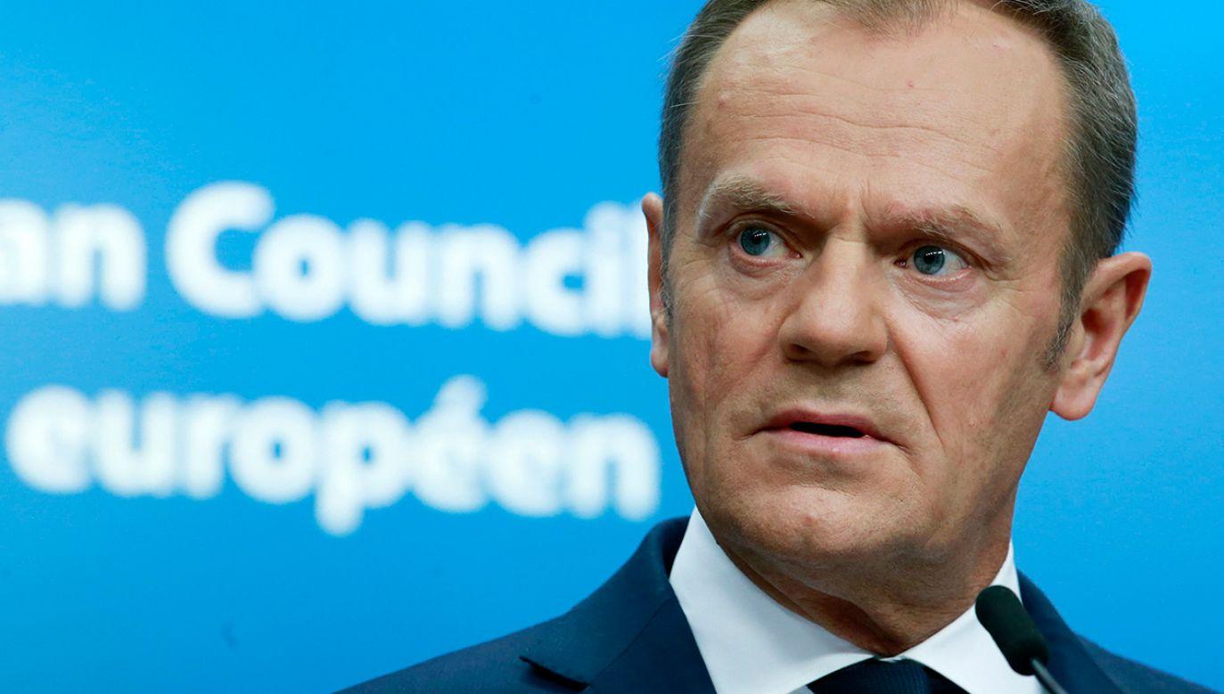 Przewodniczący RE Donald Tusk (fot. PAP/EPA/OLIVIER HOSLET)