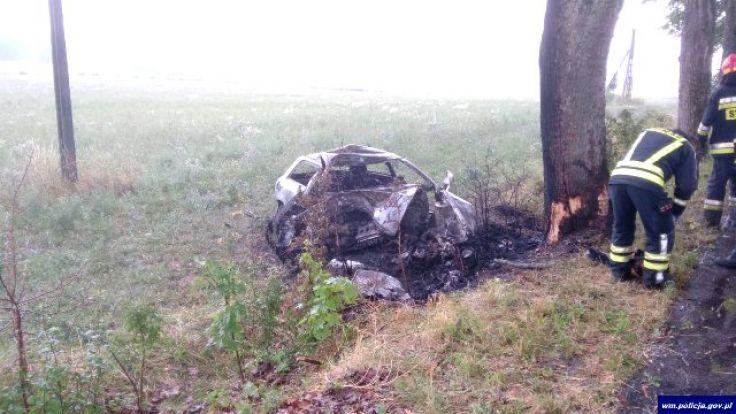 Kierujący audi zjechał na pobocze i uderzył w przydrożne drzewo (fot. KWP Olsztyn)