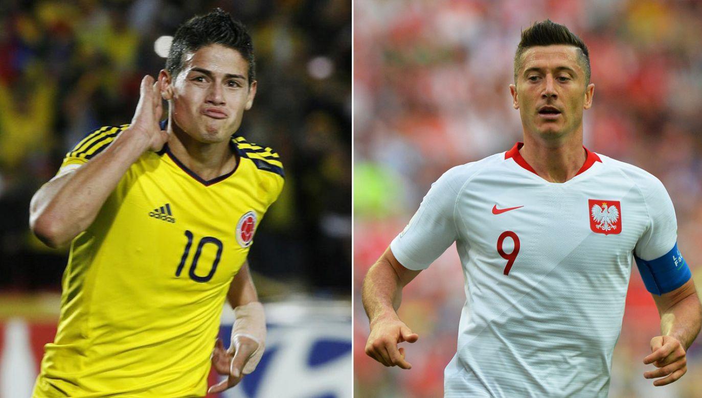 James Rodriguez i Robert Lewandowski - koledzy klubowi i dwie największe gwiazdy obu reprezentacji (fot. REUTERS/Fredy Builes/PAP/EPA/PETER POWELL)