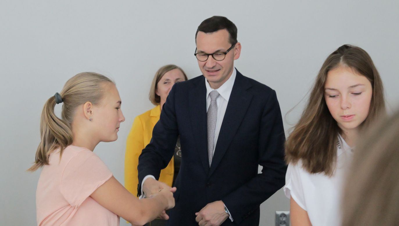 Polish Prime Minister Mateusz Morawiecki during a meeting with young people of Polish origin from Lithuania, Ukraine and Belarus on September 21, 2018 in Ostróda, Poland. Photo: PAP/Tomasz Waszczuk