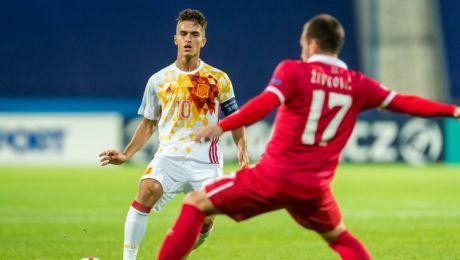 Denis Suarez - zdobywca zwycięskeij bramki dla Hiszpanii (fot. PAP/Tytus Żmijewski)