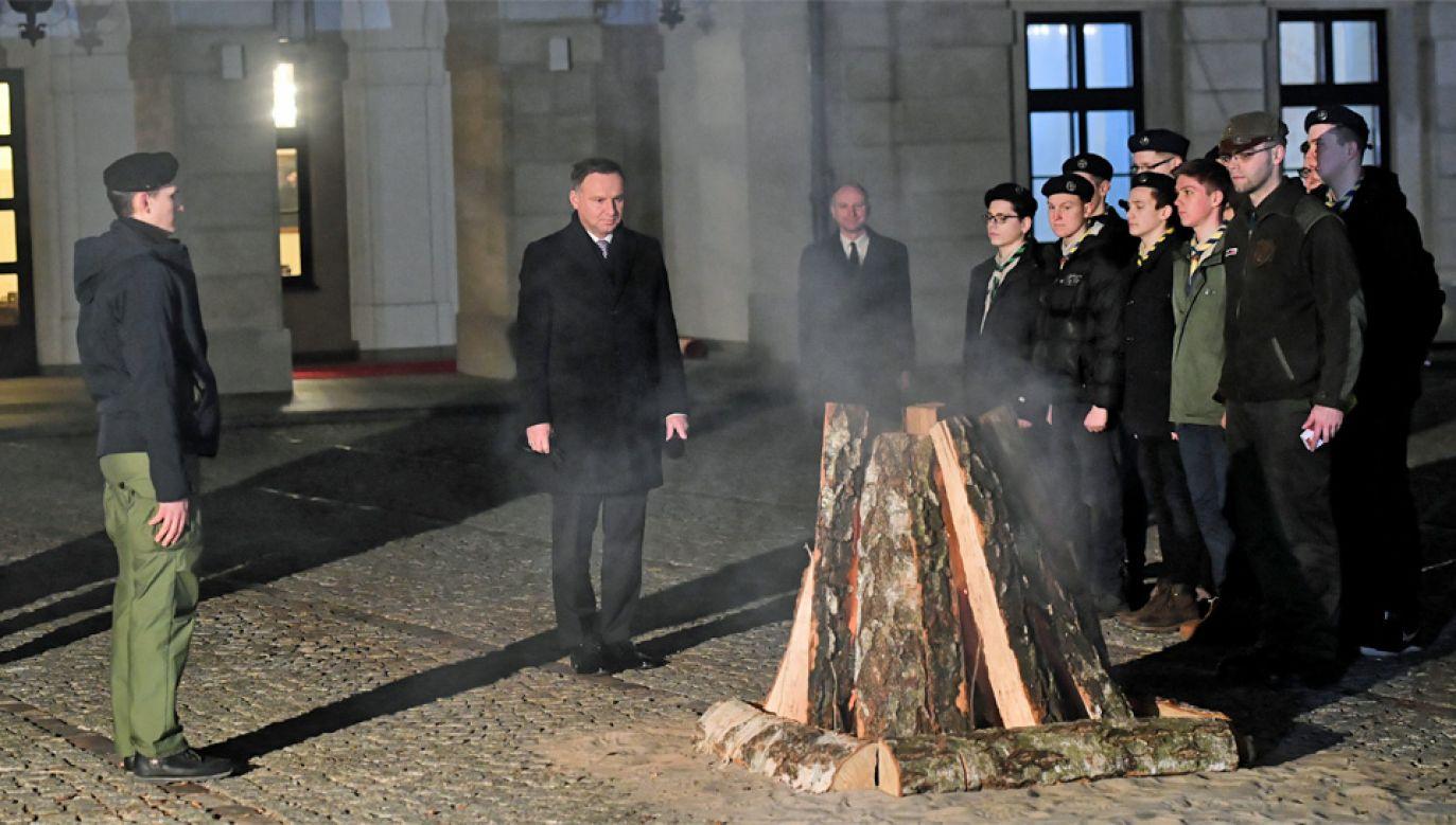 Harcerze gościli w Pałacu Prezydenckim (fot. PAP/Radek Pietruszka)