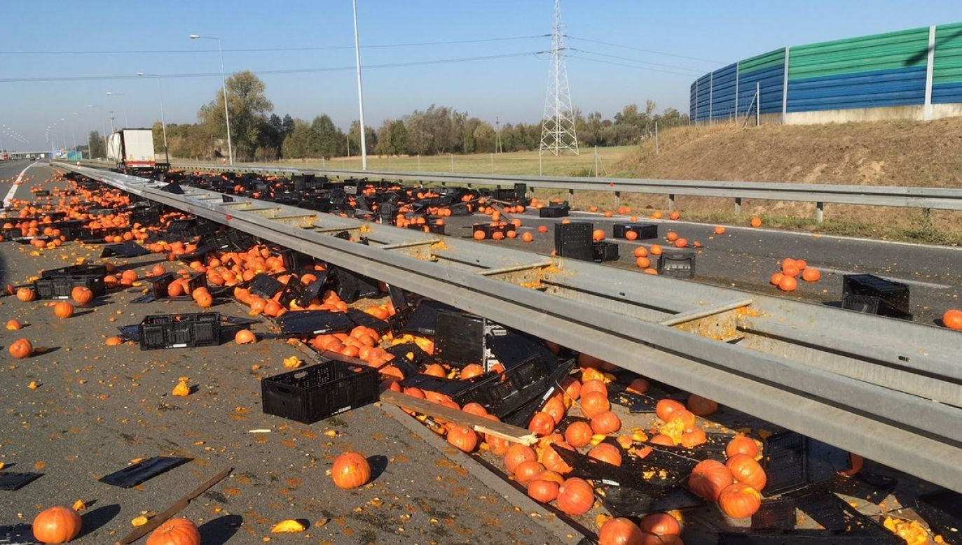 Pumpkins on A2 highway. Photo: Twitter.com/@Autostrady_Pol