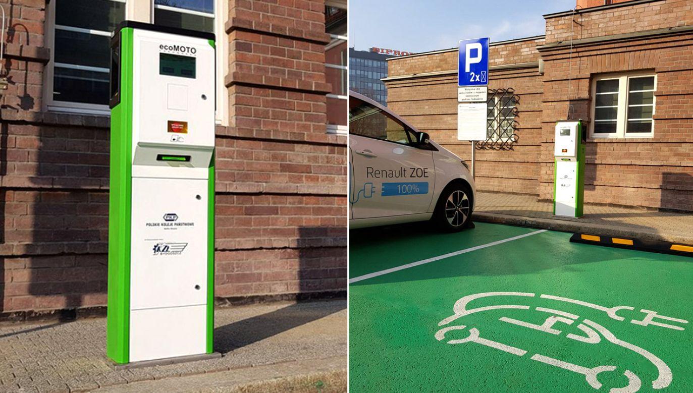 Stacje ładowania przy dworcach to projekty wpisujący się w program elektromobilności premiera Morawieckiego (fot. tt/@PKP_Telkol)