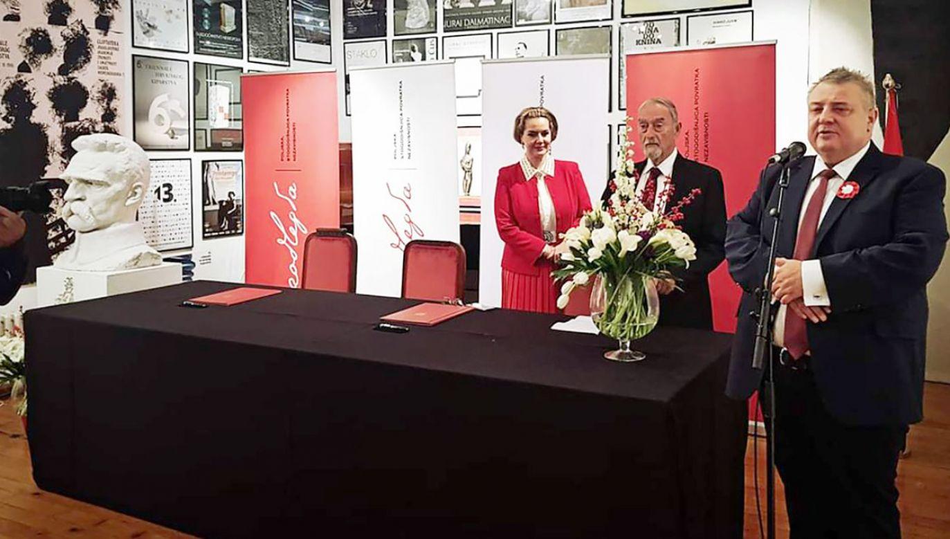 Uroczystość odbyła się w siedzibie Chorwackiej Akademii Nauki i Sztuki w Zagrzebiu (fot. tt/@PLinHrvatska)
