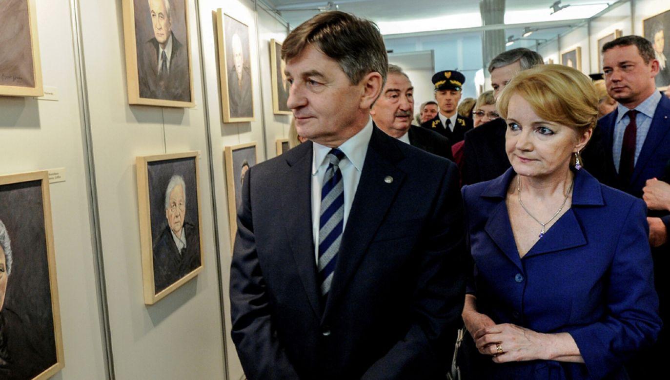 Marszałek Sejmu Marek Kuchciński oraz posłanka PiS Jolanta Szczypińska  (fot. arch. PAP)