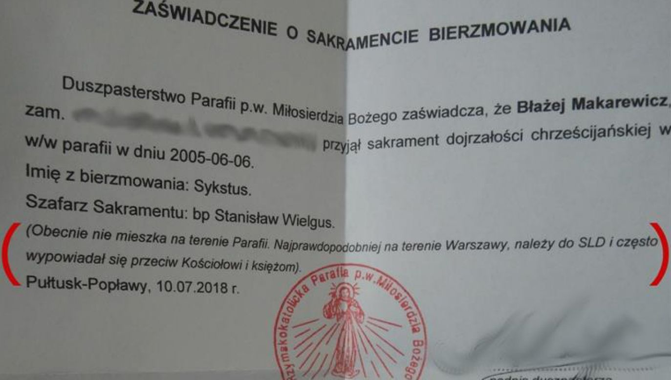 Błażej Makarewicz ma za złe księdzu, że podał informacje dotyczące pełnienia funkcji chrzestnego (fot. Facebook / Błażej Makarewicz)