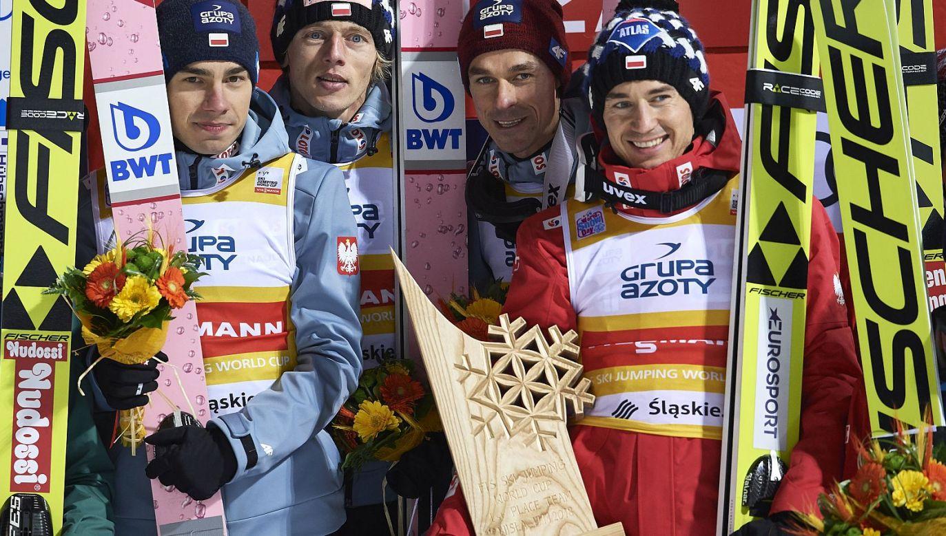 Od lewej: Jakub Wolny, Dawid Kubacki, Piotr Żyła, Kamil Stoch (fot. Getty Images)