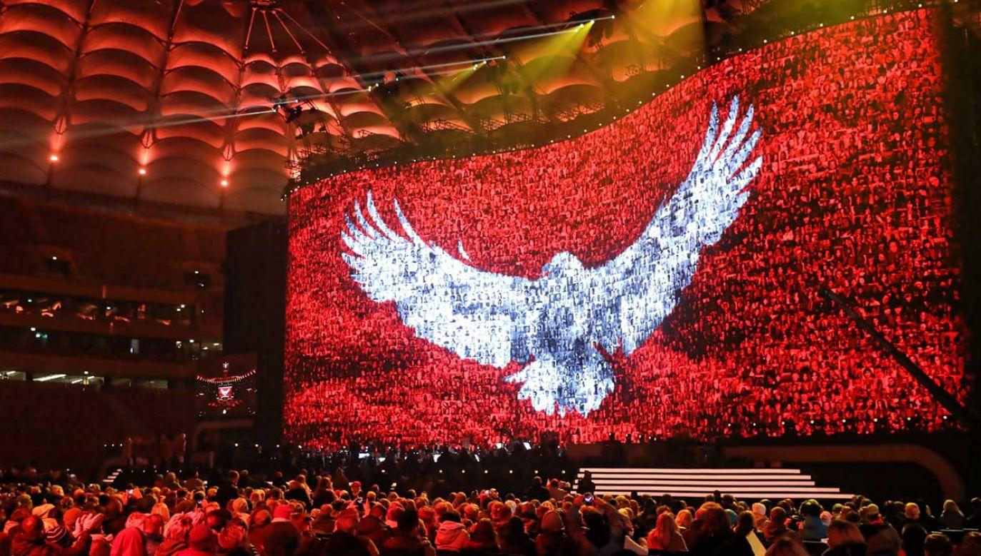 """""""Koncert dla Niepodległej"""" odbył sie 10 listopada na Stadionie Narodowym (fot. PAP/Paweł Supernak)"""