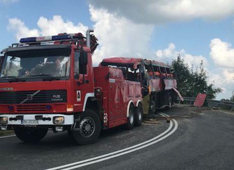 Tragiczny wypadek autokaru w Leszczawie Dolnej