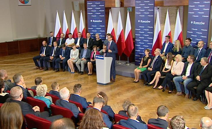 Premier Mateusz Morawiecki podczas spotkania w Rzeszowie