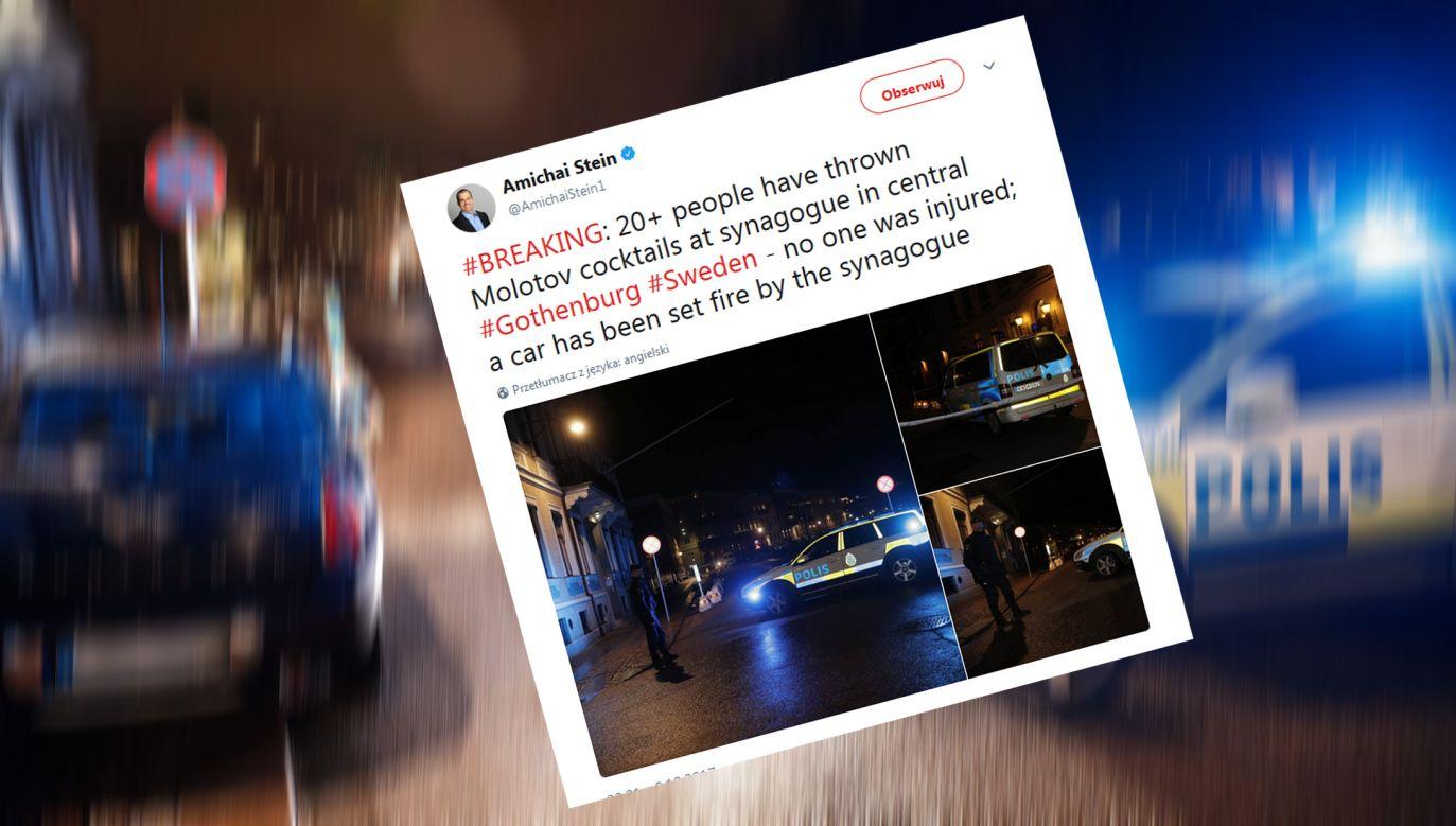 Nieznani sprawcy obrzucili synagogę w Goeteborgo koktajlami Mołotowa (fot. źródło: Twitter)