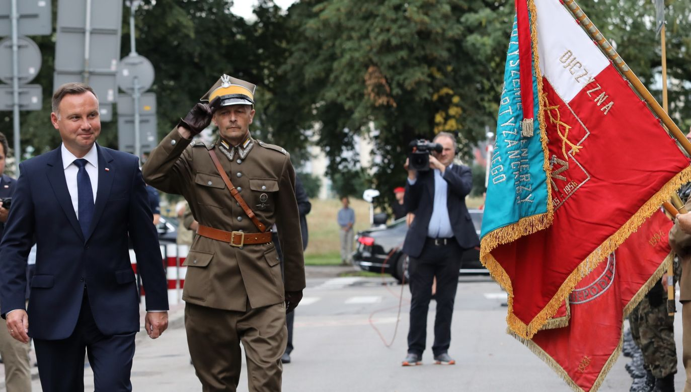 Polish president Andrzej Duda (L) at the ceremony commemorating the March of First Cadre Company. Photo: PAP/Jacek Bednarczyk