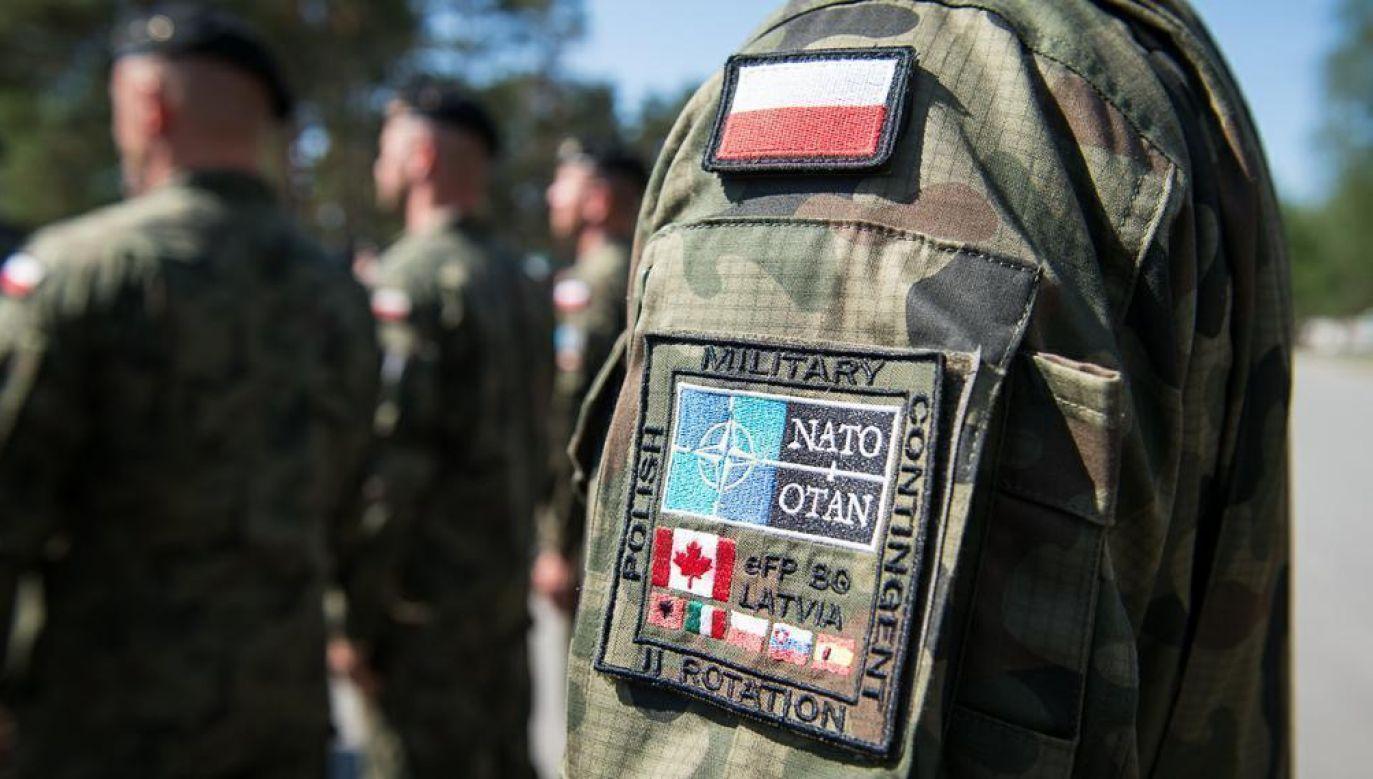 A badge of a NATO soldier present at the meeting with the Polish Defense Minister Mariusz Błaszczak in Latvia. Photo: CO MO/st. szer. Wojciech Król