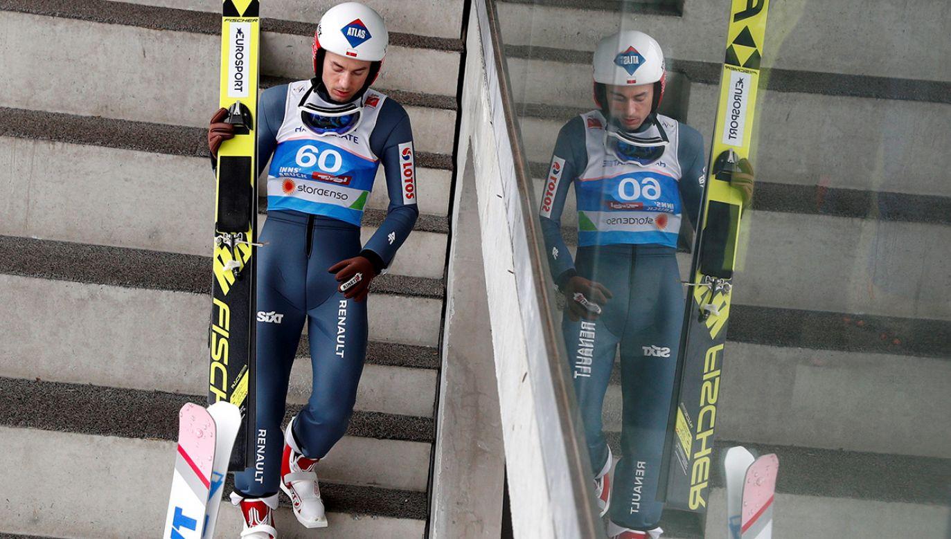 Kamil Stoch podczas serii treningowej do konkursu indywidualnego na dużej skoczni na mistrzostwach świata w Innsbrucku (fot. PAP/Grzegorz Momot)