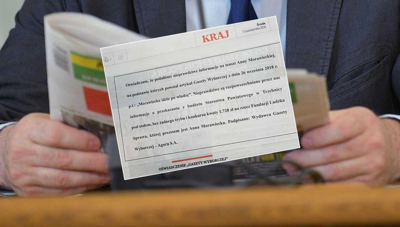 W środowym wydaniu gazety pojawiło się sprostowanie dotyczące Anny Morawieckiej (fot.  PAP/Marcin Obara/TT/Krzysztof Sobolewski)