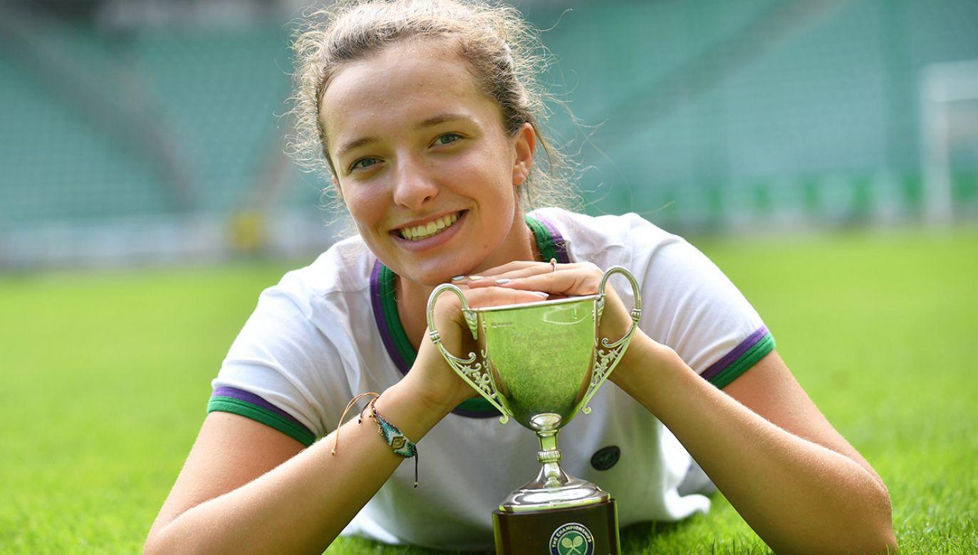 Iga Świątek została czwartą Polką, której udało sięwygrać juniorski Wimbledon (fot. PAP/Bartłomiej Zborowski)