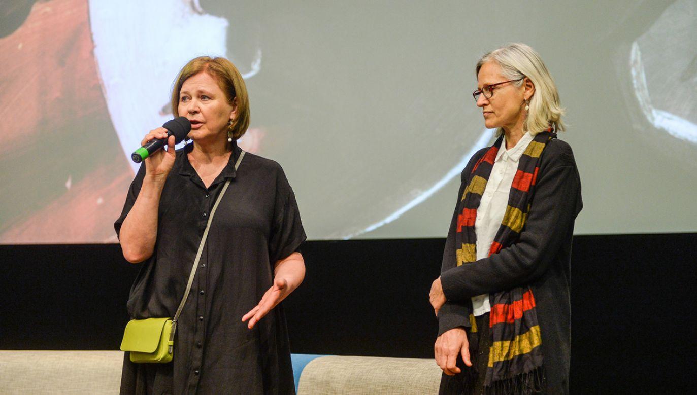 Reżyser Natalia Koryncka-Gruz podczas premiery prasowej jej filmu dokumentalnego