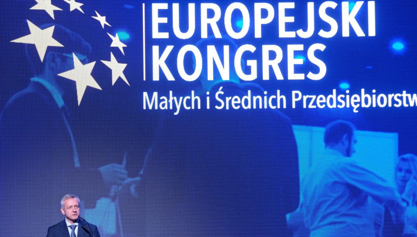 List prezydenta Andrzeja Dudy został odczytany w Katowicach podczas Kongresu MiŚP (fot.  PAP/Andrzej Grygiel)