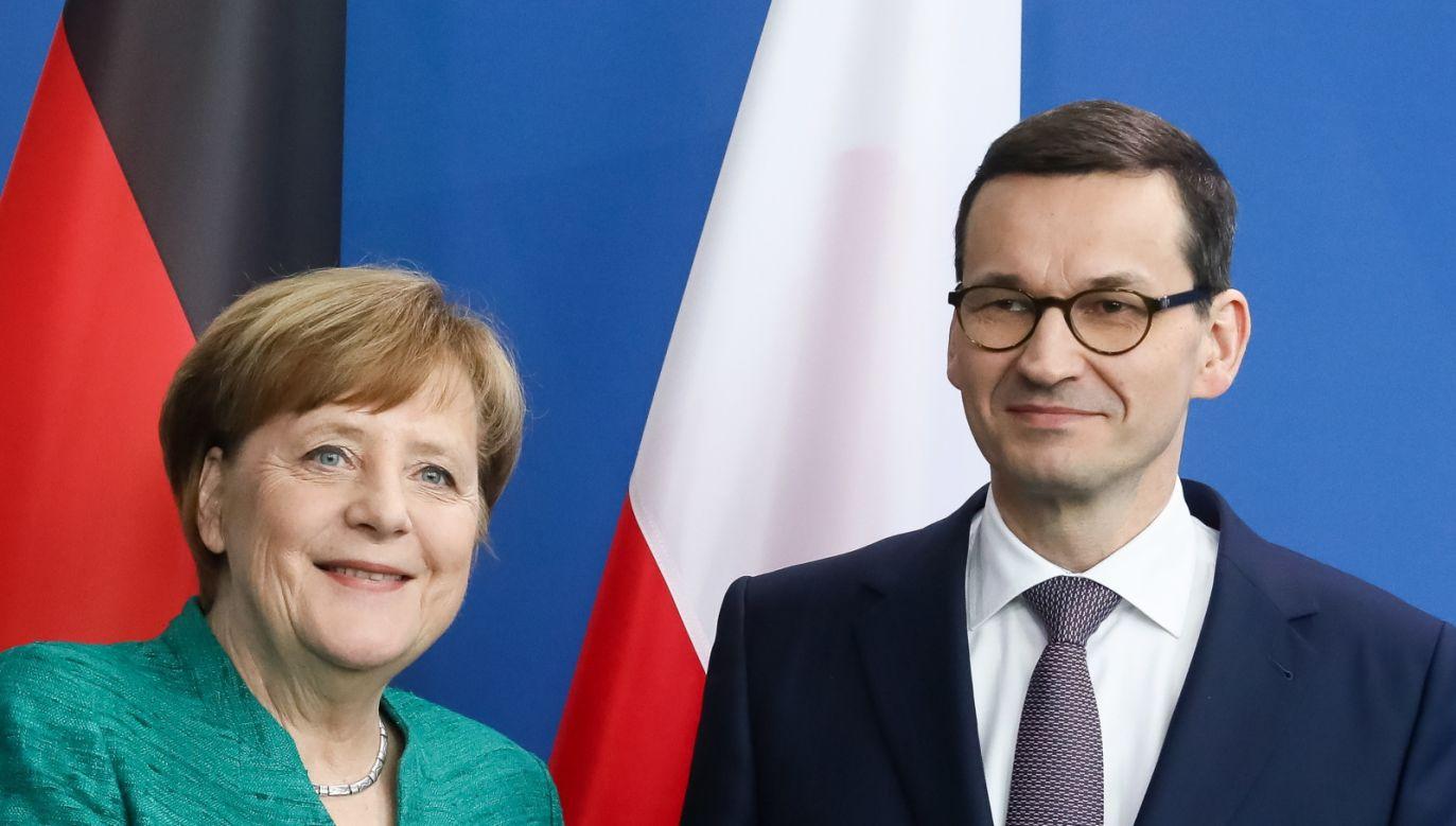 Premier RP Mateusz Morawiecki i kanclerz Niemiec Angela Merkel podczas konferencji prasowej w Berlinie (fot. PAP/Paweł Supernak)