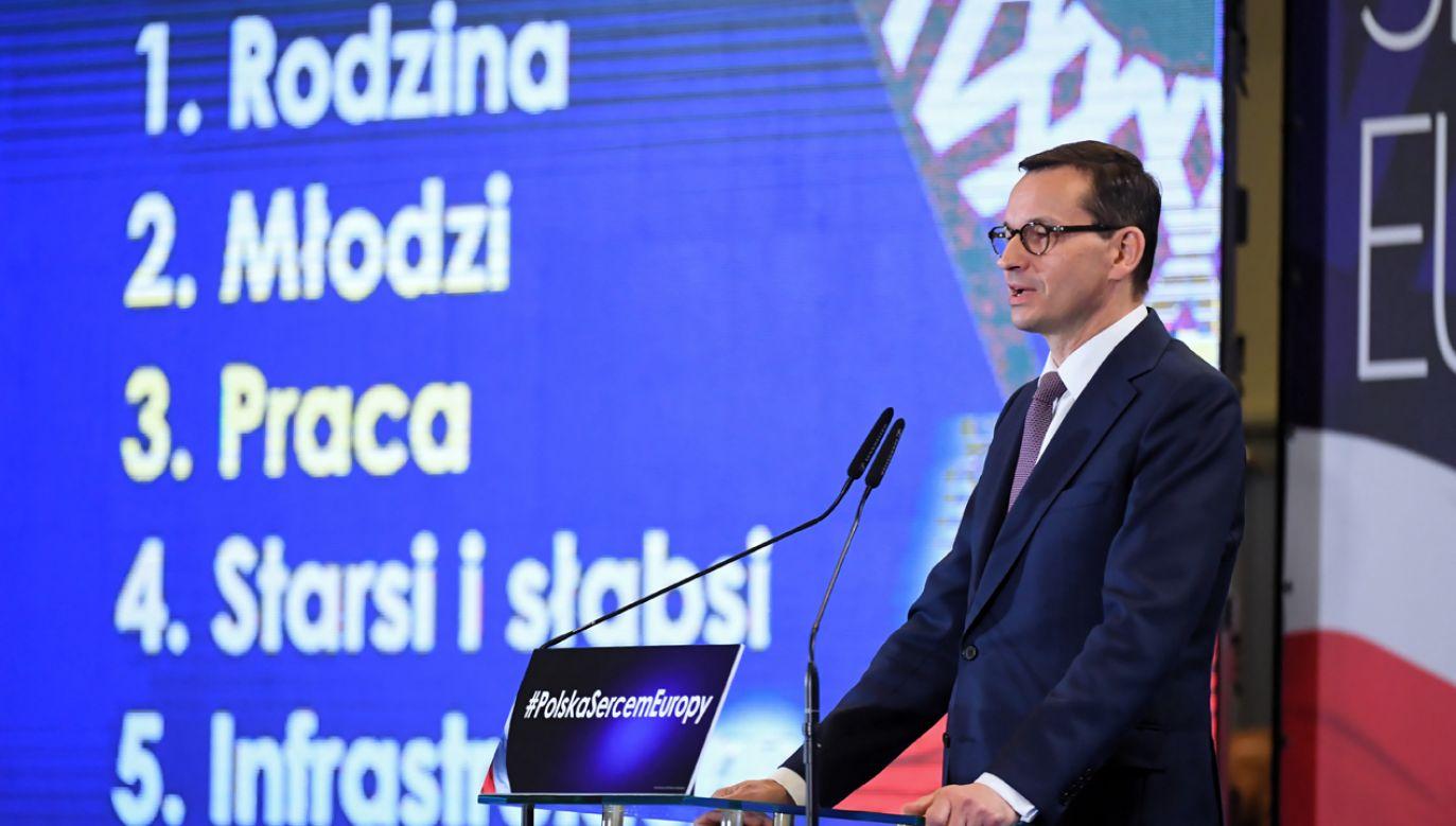 My mamy piątkę Kaczyńskiego. Opozycja ma pięć partii złączonych niedobrymi emocjami wobec PiS – mówi Mateusz Morawiecki (fot. PAP/Grzegorz Michałowski)