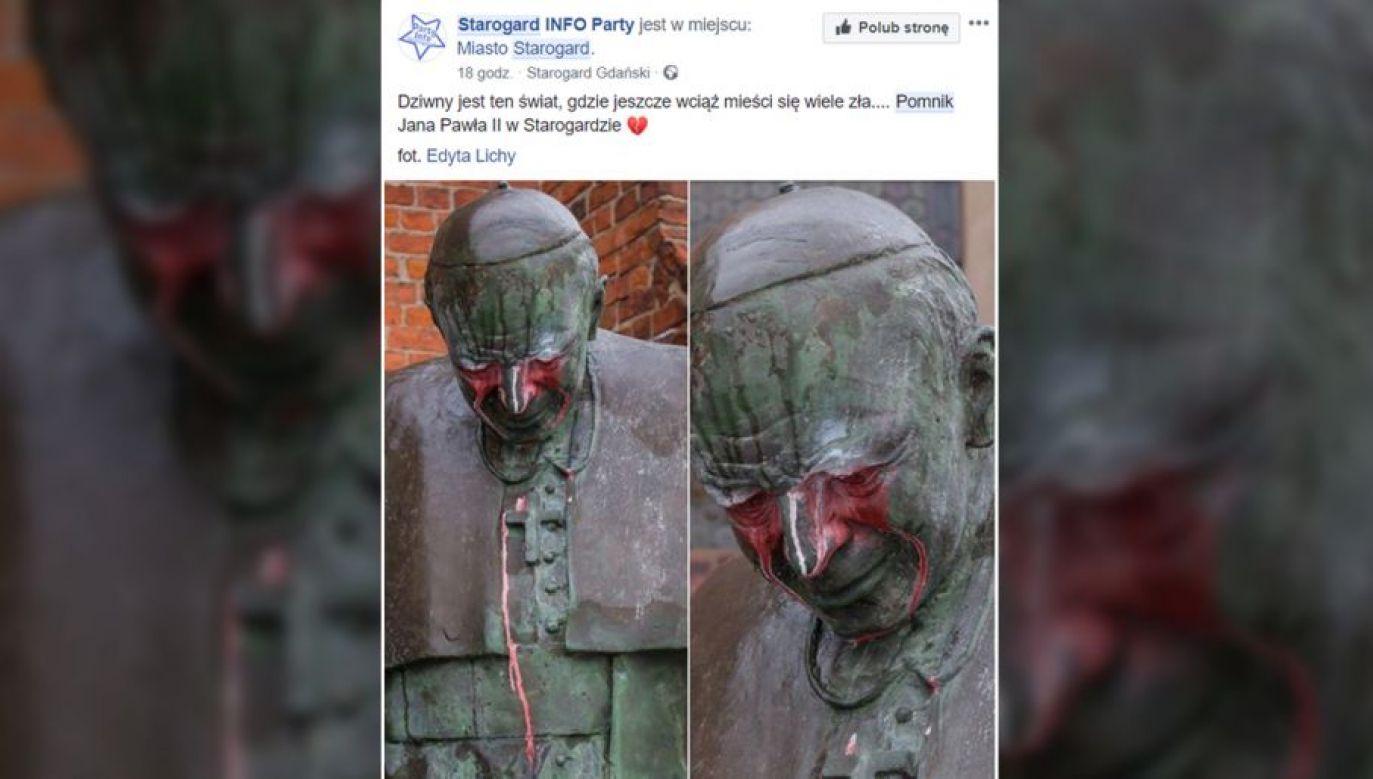 Rzeźba została oblana czerwoną farbą (fot. TT/Starogard INFO Party)
