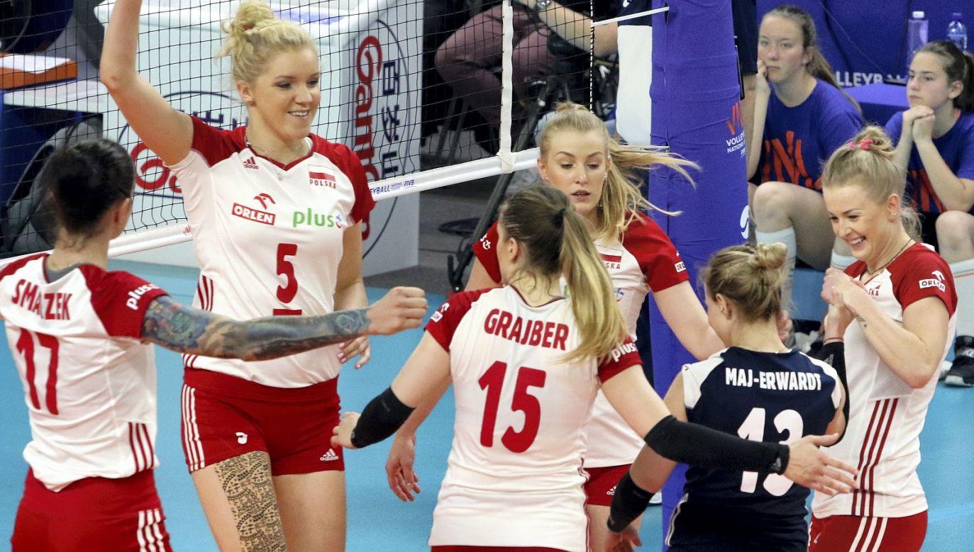 Polskie siatkarki podczas meczu Ligi Narodów w Opolu (fot. PAP)