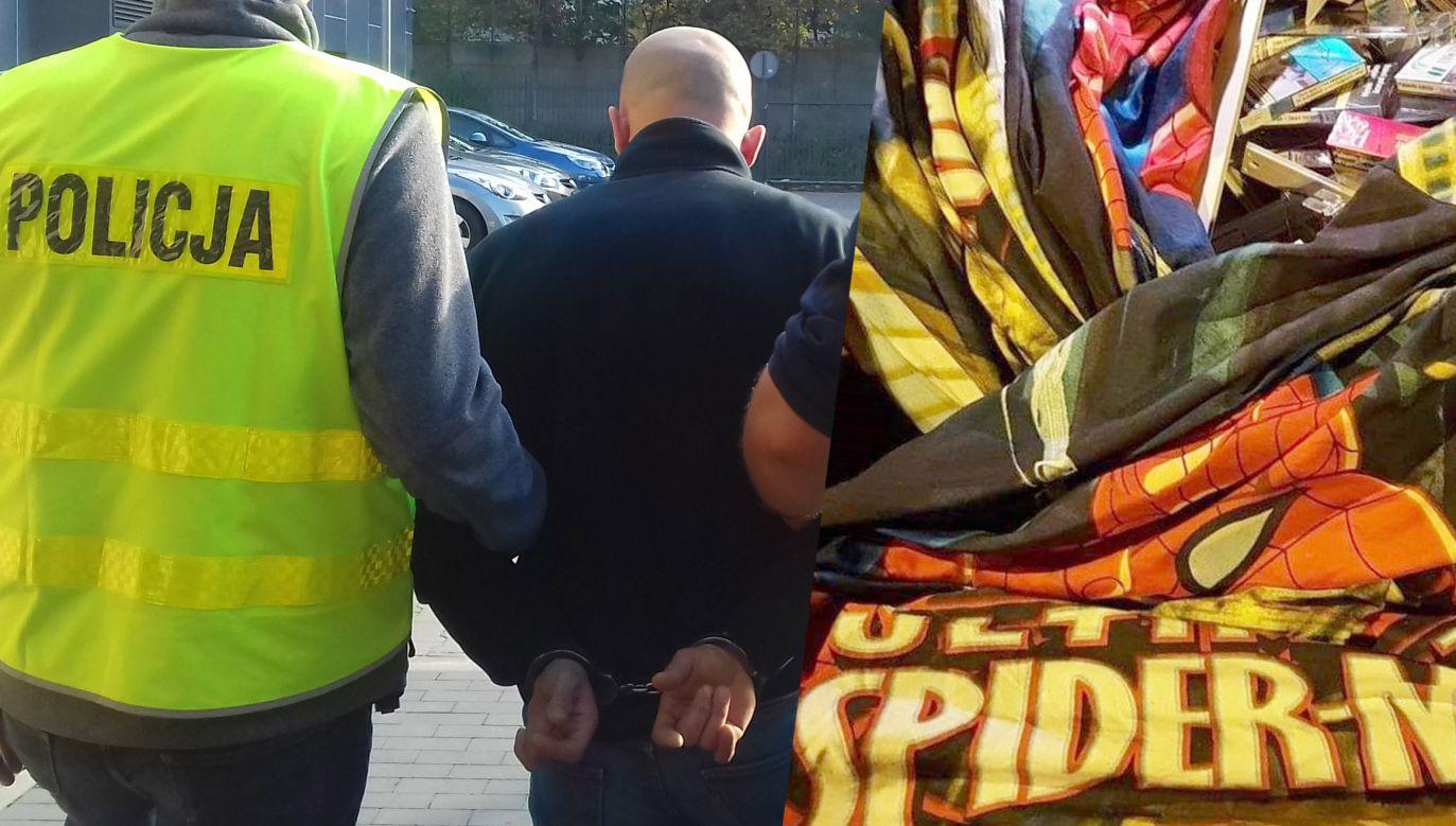 W bagażniku zatrzymanych była poszewka wypchana papierosami (fot. KMP Łódź)