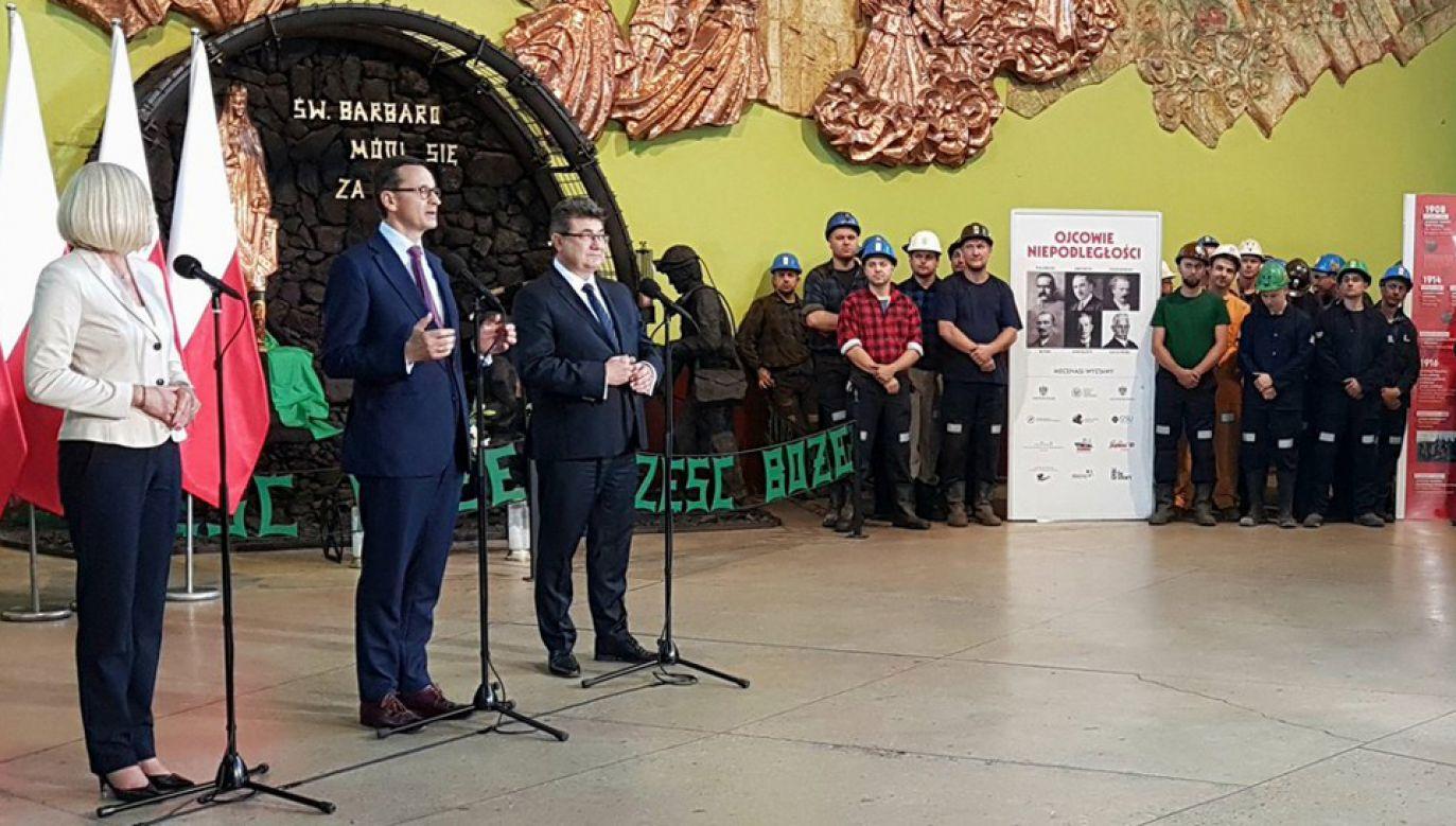 Szef rządu odwiedził w środę kopalnię Bielszowice (fot. źródło/ KPRM)