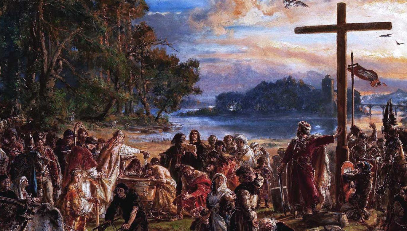 """""""Zaprowadzenie chrześcijaństwa R.P. 965"""", obraz Jana Matejki z 1889 roku (fot. pl.wikipedia.org)"""