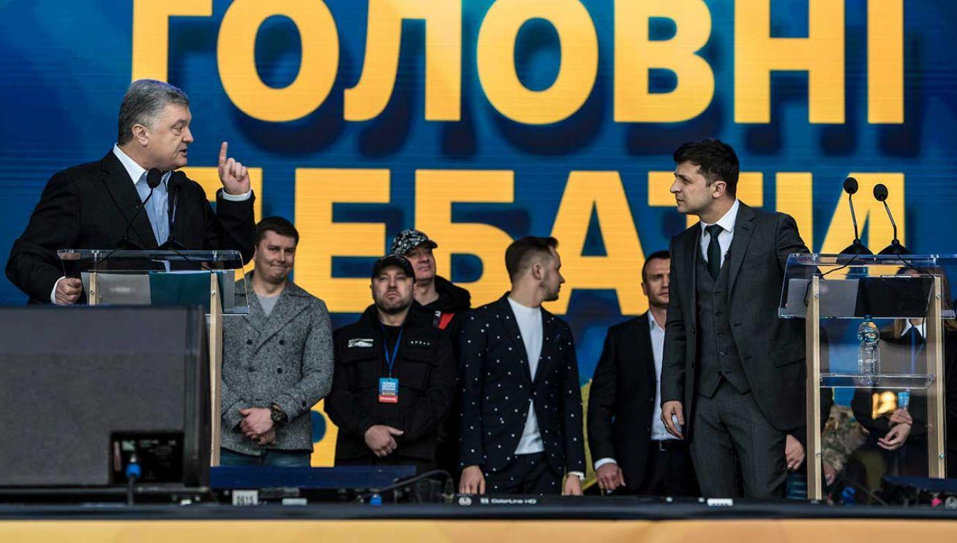 Showman telewizyjny Wołodymyr Zełenski i urzędujący prezydent Petro Poroszenko (fot. Brendan Hoffman/Getty Images)